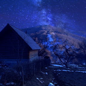 Book like by Anja Popov - Landscapes Starscapes ( cabin, sky, blue, stars, enchanted )