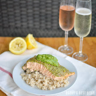 Basil and Dill Pesto Crusted Baked Salmon.