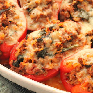 Spinach and Beef Stuffed Peppers.