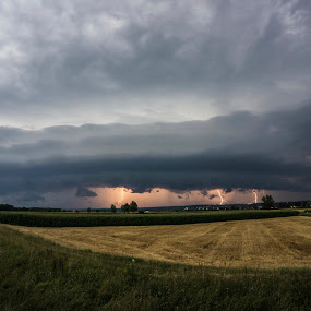 supercell over a wheat field by Jernej Lipovec - Landscapes Weather ( sony, lightning, slovenia, weather, supercell, landscape, storm )