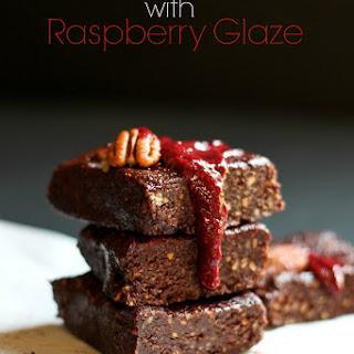 Nutty Raw Brownies with Raspberry Glaze