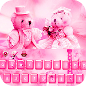 Pink Teddy Bear love keyboard