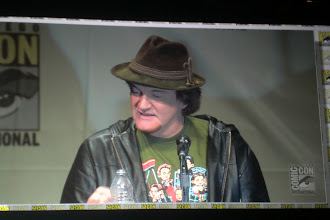 Photo: Saturday - Django Unchained panel; director Quentin Tarantino. This hat cracks me up. It looks like he stole it off a Von Trapp family singer.