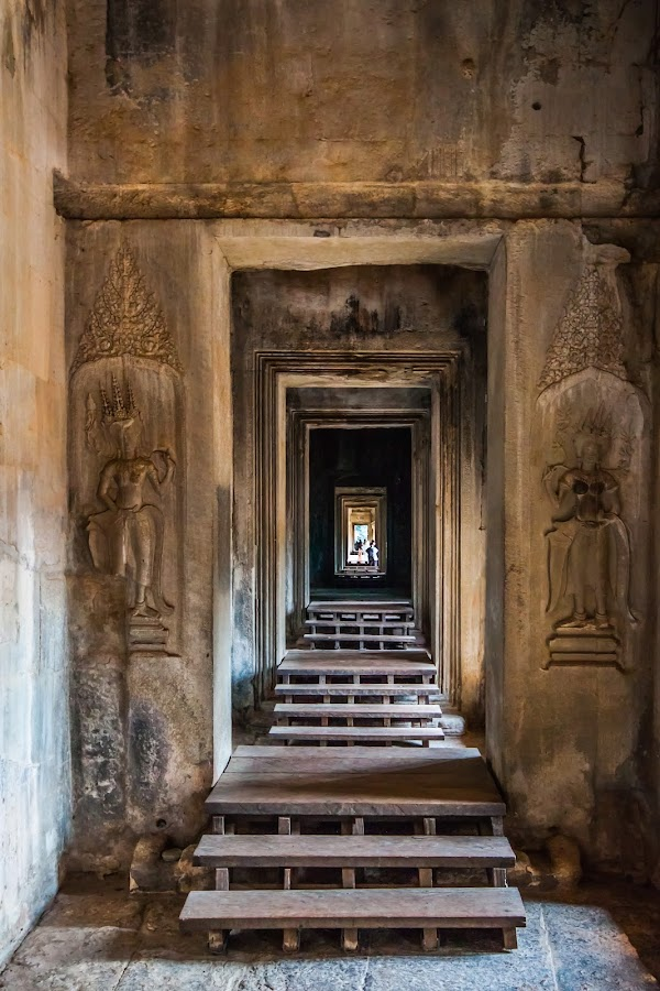 Passage to enlightenment by David Lane - Buildings & Architecture Places of Worship ( doors, temple, stair, hall, travel, angkor wat, cambodia,  )