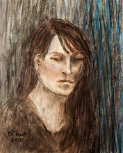 "Photo: Pensive Woman, 2013, Brenda Clews, 28.5cm x 42cm, 11 1/4"" x 16 1/2"", graphite, conte, charcoal, pastel, coloured pencil in a Moleskine A3 Sketchbook."