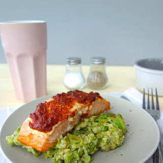 Red Pesto Salmon with Pea and Bulgar Wheat Mash