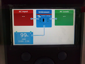 Photo: Victron Color Control GX's main monitor screen showing battery state on bottom left