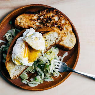 Poached Eggs, Skillet Toast and Jalapeño Fennel Salad