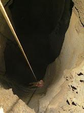 Photo: Dave descending 170 foot deep Weathermaker Pit.