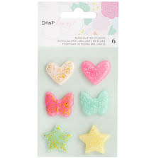 Dear Lizzy Adhesive Glitter Resin Shapes 6/Pkg - Stay Colorful