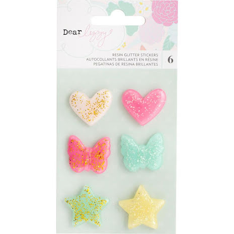Dear Lizzy Adhesive Glitter Resin Shapes 6/Pkg - Stay Colorful UTGÅENDE