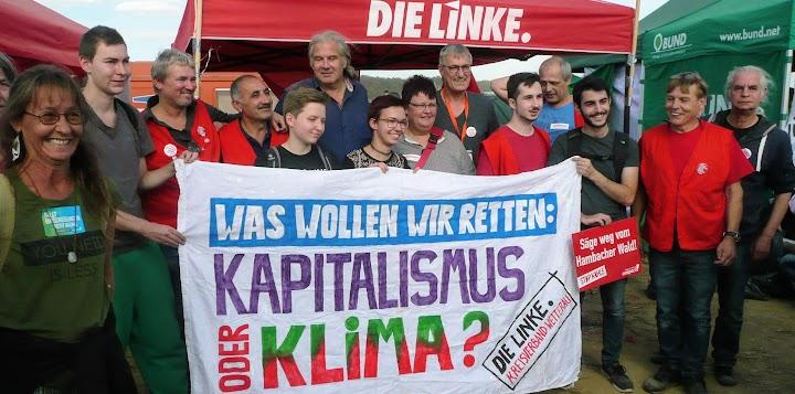 Die Linke. Protestgruppe mit Transparent: «Was wollen wir retten: Kapitalismus oder Klima?».