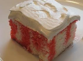 Strawberry jello poke cake with Cool Whip topping Recipe