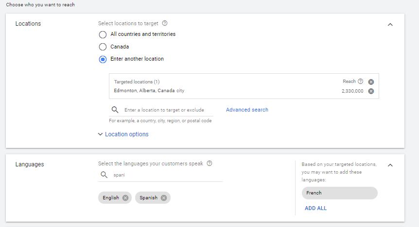 Setting Google Ads Campaign - Location & Language
