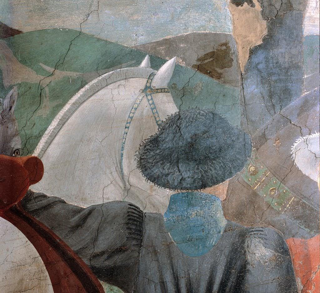 Piero della Francesca, Adorazione della Croce (particolare giovani palafrenieri), Basilica di San Francesco, Arezzo