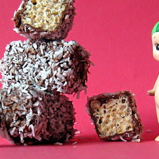 Marshmallow and Rice Krispie Lamingtons