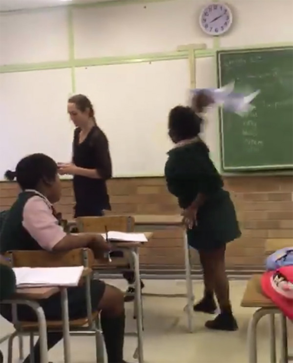 Screengrab of a video where a pupil assaults teacher.