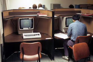 Photo: IBM 3277 displays at UBC. Photograph by Gavin Eadie.
