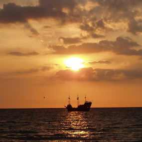 Pirates at Sunset by Stephanie Ostrander Bishop - Landscapes Travel ( water, clearwater beach, sky, florida, sunset, ship, pirate ship )