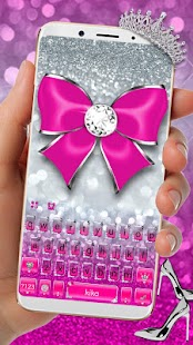 Shiny Pink Silver Keyboard Theme - náhled