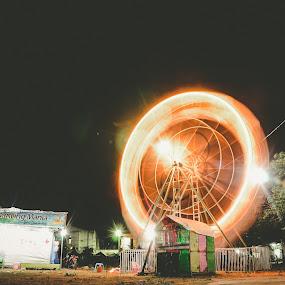 time machine by Nur Saputra - City,  Street & Park  Night ( indonesia, long exposure, night, traditionalpark, timemachine )