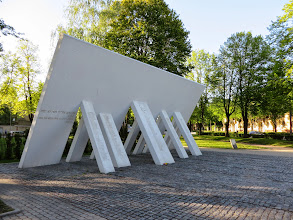 Photo: Monument to the Holocaust.  The supports have the names of the non-Jews who tried to prevent Jewish culture from being crushed