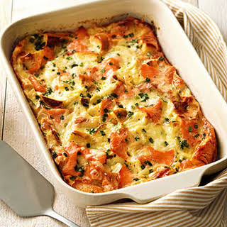 Bagel, Lox, and Egg Strata.