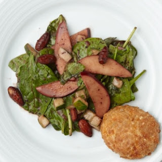 Spinach and Apple Salad with Blueberry Vinaigrette and Whole-Grain Cheese Pennies