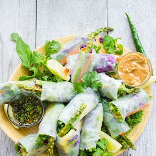 Thai Style Rice Paper Rolls with Two Dipping Sauces Recipe