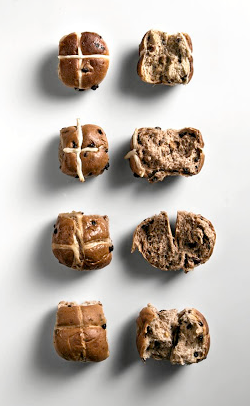 From top to bottom: traditional hot cross buns from Woolworths, Pick n Pay, Checkers and SPAR.