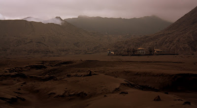Photo: The sea of sand and monastery in the Mt. Bromo caldera