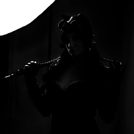 Night Cat by Joshua Clifford - Nudes & Boudoir Boudoir ( cosplay, back light, night, black, simplicity, inside, portrait, whip, boudoir, catgirl, blackandwhite, minimalist, black and white, female, backlit )