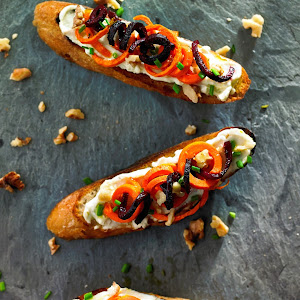 Whole Wheat Crostini with Whipped Gorgonzola