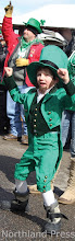 Photo: Myles LaBorde, 6, of Crosby did a little jig as the floats passed by - photo by Donna Evans    Myles LaBorde as a Leprechaun won the Child Division Costume Contest sponsored by Edina Realty for the Crosslake St. Patrick's Day Celebration.- photo submitted