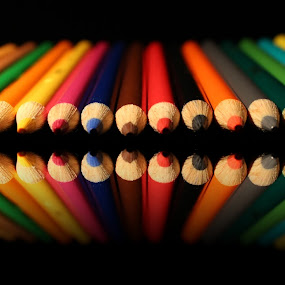 Color pencils and it's reflection. by Dipali S - Artistic Objects Other Objects ( draw, sketch, logo, school, color, kids, education, business, pencils )