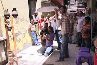 Photo: Ahmad Abdalla, in the set of Microphone - with DOP Tarek Hefny, 1st SD Tamer Eissa. Alexandria 2010