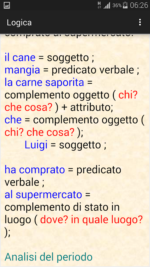 Analisi logica italiana- screenshot