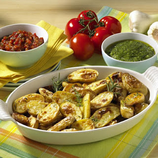 Salt Crusted Potatoes with Salsa and Pesto Dips