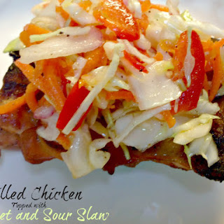 Grilled Chicken Thighs with Sweet and Sour Slaw