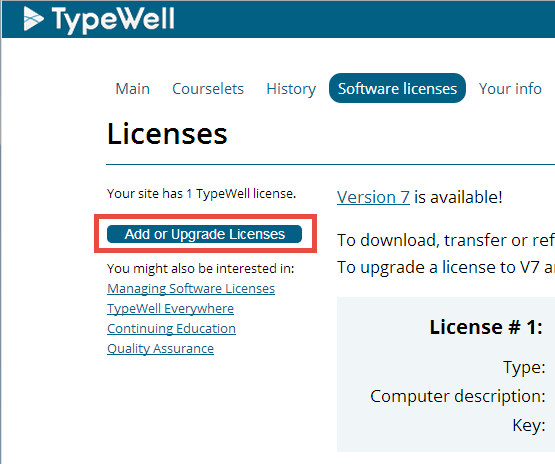 Add or upgrade licenses button