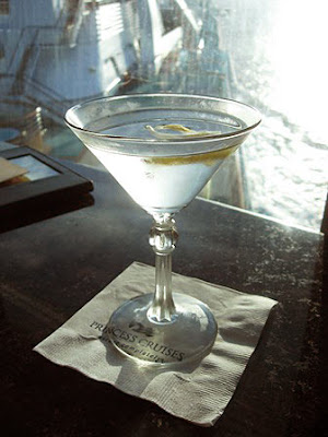 A martini in Skywalker's lounge on Golden Princess