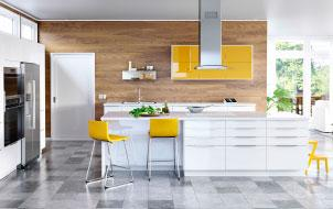 A large modern kitchen with white high-gloss drawers and yellow high-gloss doors and a kitchen island.