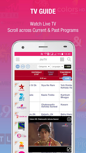 JioTV Live Sports Movies Shows Appar (APK) gratis nedladdning för Android/PC/Windows screenshot