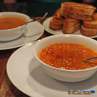 Tomato Orzo Soup With Grilled Cheeses.