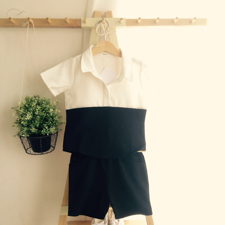 Black and White Shirt and Pants for Kid by Purple Grape Garment
