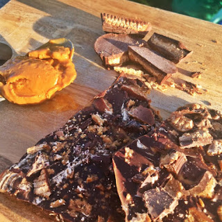 Recipe for Chocolate Peanut Butter Bark With Peanut Butter Cups.