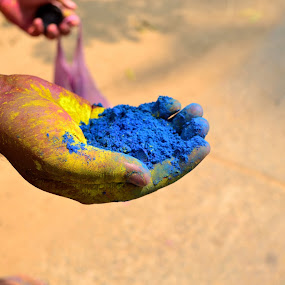 A colorful hand!!! by Prasant Kumar - Abstract Fine Art ( blue, color, tradition, india, holi, culture )