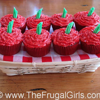 Red Velvet Apple Frosted Cupcakes