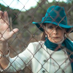 Magneto 2 by Malik Marcell - People Portraits of Women ( film, woman, teal, portrait, gate )