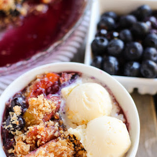 Blueberry Peach Crisp with Coconut Almond Topping
